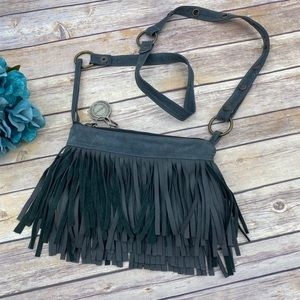 Shernett Swaby gray suede fringed crossbody bag
